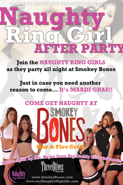 Smokey Bones - Naughty Ring Girl After Party Poster Design