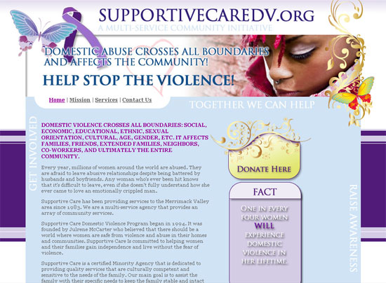 Supportive Care Domestic Abuse Website Design