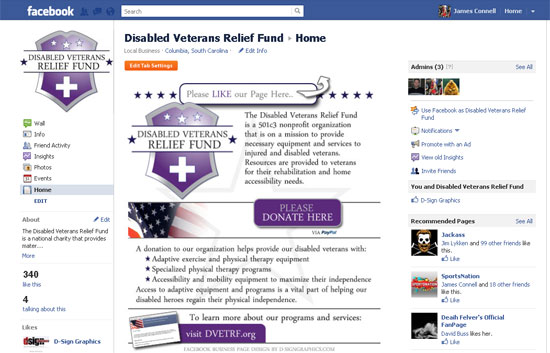 Facebook Landing Page Design - Disabled Veteran's Relief Fund