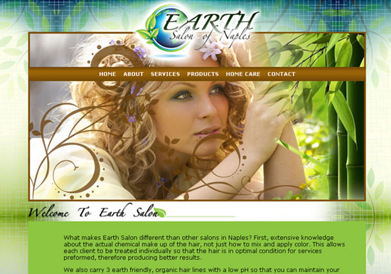 Website Design for Earth Salon of Naples, Florida
